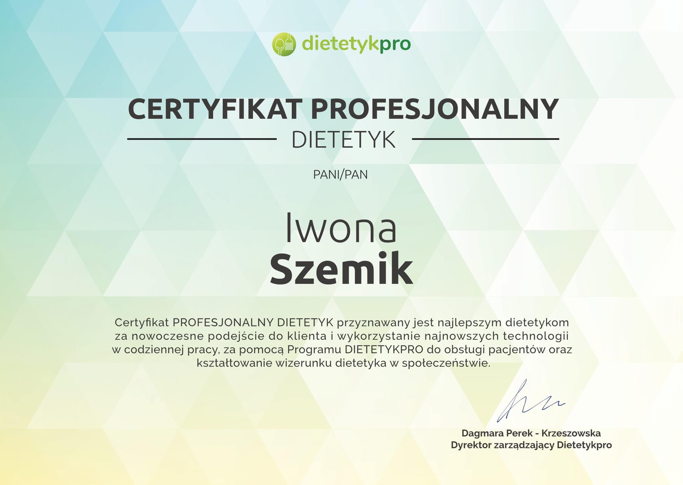 certyfikat-profesjonalny-dietetyk-iwona-szemik