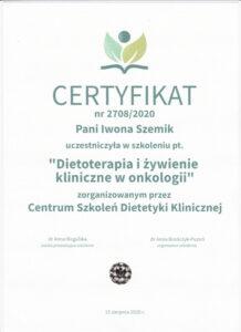 certyfikat-szkolenie-dietoterapia-zywienie-onkologiczne-iwona-szemik
