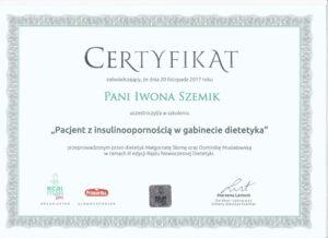 certyfikat-szkolenie-insulinoopornosc-iwona-szemik